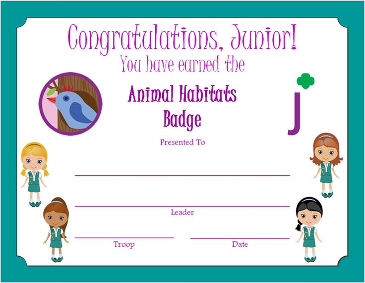 112 best junior girl scouts images on pinterest brownie girl junior animal habitats badge certificate yadclub Choice Image