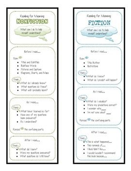 Reading for Meaning: Self-Monitoring Fiction and Non-fiction Bookmarks - FREE item from my TPT store, so please enjoy!!!