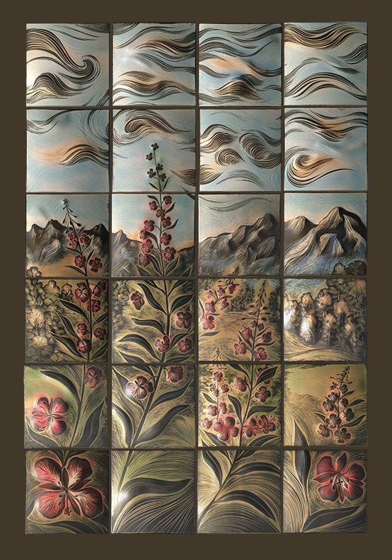 Fireweed One Of 10 Handmade Sgraffito Carved Ceramic Wall Art