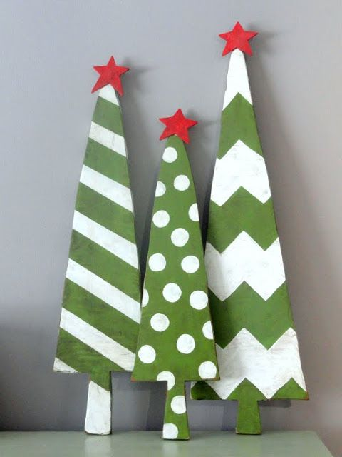 Wooden Christmas Trees - I'm not into cutting out wooden shapes using power tools. However, I've seen light weight wood in craft stores that can be cut w/scissors or an exacto knife. ;0)