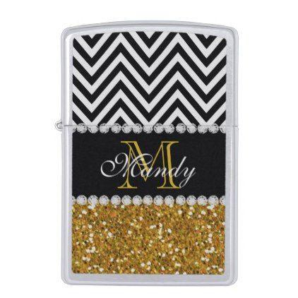 Personalized Gold Glitter Black Chevron Monogram Zippo Lighter - girly gifts special unique gift idea custom