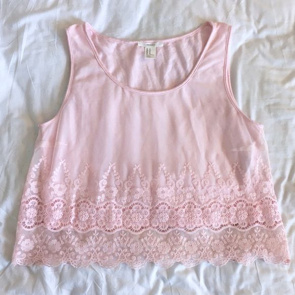 Forever 21 Pink Mesh Lace Crop Tank Top Forever 21 Pink Mesh Lace Crop Tank Top! This has only been worn once! Forever 21 Tops Tank Tops