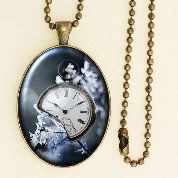 Vintage Style Clock Pendant, Winter Theme Print, Pocket Watch Necklace, Handmade Glass Cabochon, Antique Bronze 001R001K005B