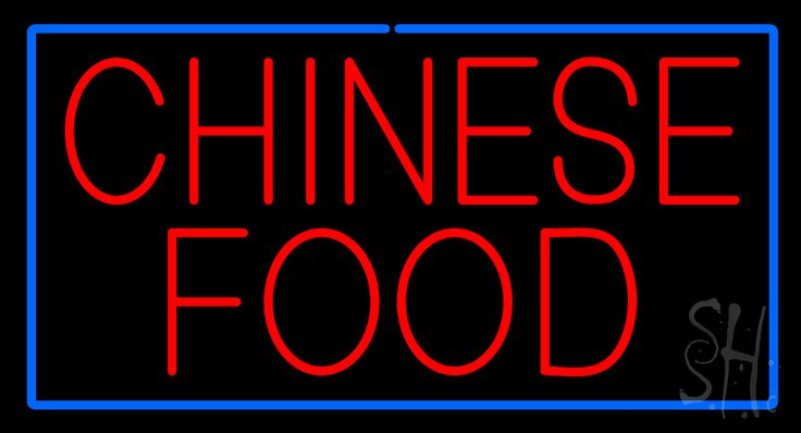 Red Chinese Food with Blue Border Neon Sign 20 Tall x 37 Wide x 3 Deep, is 100% Handcrafted with Real Glass Tube Neon Sign. !!! Made in USA !!!  Colors on the sign are Blue and Red. Red Chinese Food with Blue Border Neon Sign is high impact, eye catching, real glass tube neon sign. This characteristic glow can attract customers like nothing else, virtually burning your identity into the minds of potential and future customers.