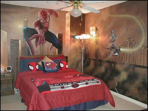 decorating kids room with spiderman theme photos