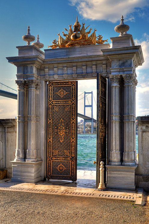 civilization door. Beylerbeyi Palace .ISTANBUL-TURKEY. Bosphorous Bridge, 5th longest in the world, in background.
