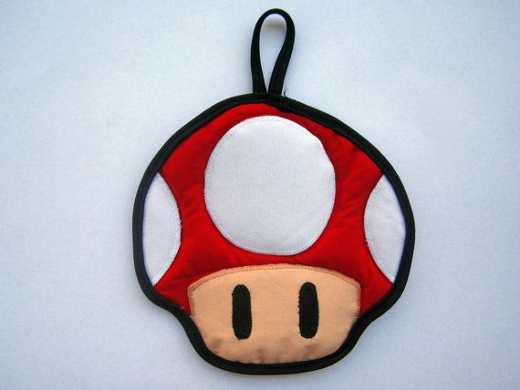 Red Super Mario Mushroom Pot Holder by OfflinePixels on Etsy