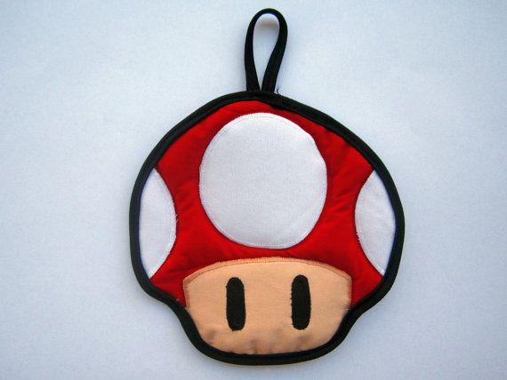 Red Super Mario Mushroom Pot Holder by OfflinePixels on Etsy