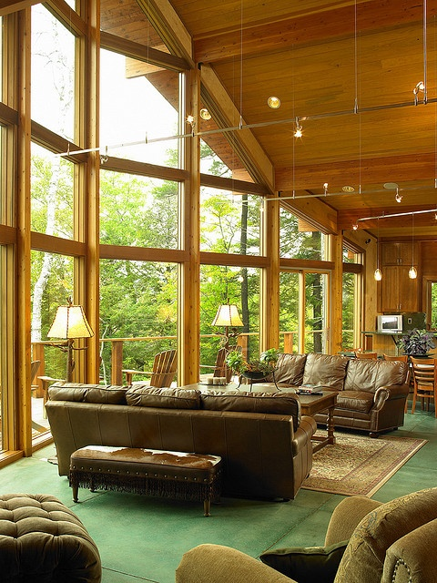 Great Room with wall of glass. by Lindal Cedar Homes, via Flickr