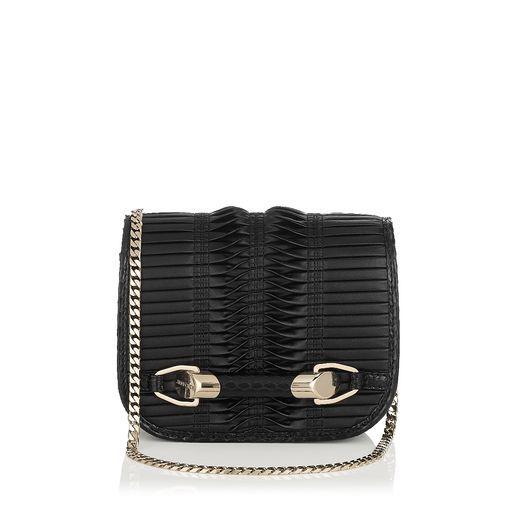 Jimmy Choo Zadie - Black Pleated Coated Fabric Cross Body Bag #fashionClassic