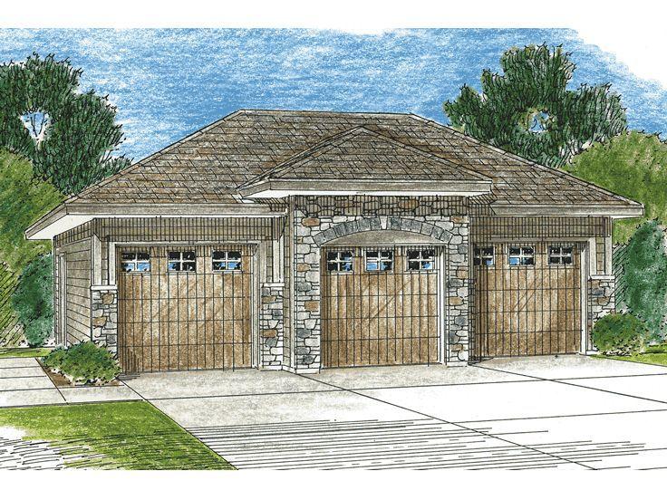 155 best 3 car garage plans images on pinterest boat for Single story house plans with detached garage