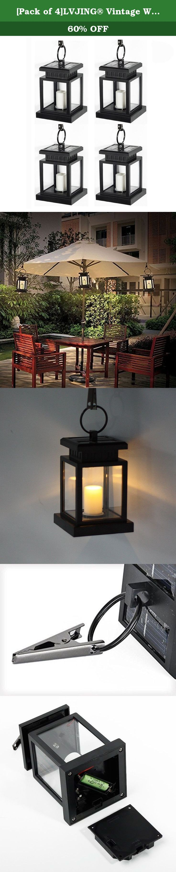 [Pack of 4]LVJING® Vintage Waterproof Solar Powered Hanging Umbrella Lantern Portable Led Candle Lights with Clamp for Beach Umbrella Tree Pavilion Garden Yard Lawn Camping etc. Lighting & Decoration (Black). About our brand LVJING: *** LVJING *** has been a professional LED manufacturer for over 5 years. We aim to provide our customers 100% satisfaction with high quality products, competitive price and good customer service. If for any reason you are not satisfied, please give us a…