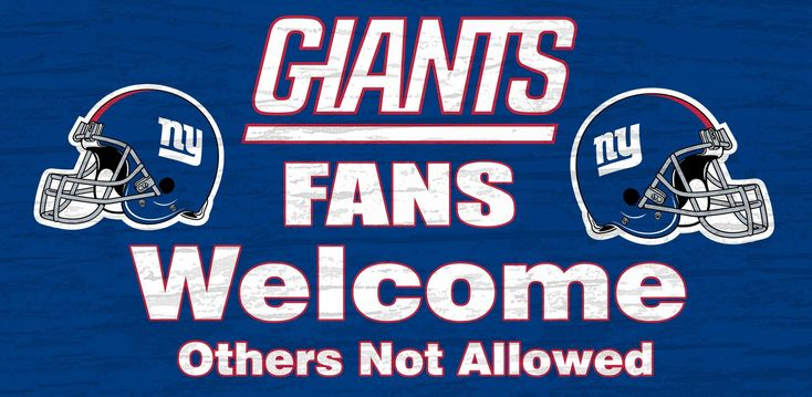 "New York Giants Wood Sign - Fans Welcome 12""x6"""