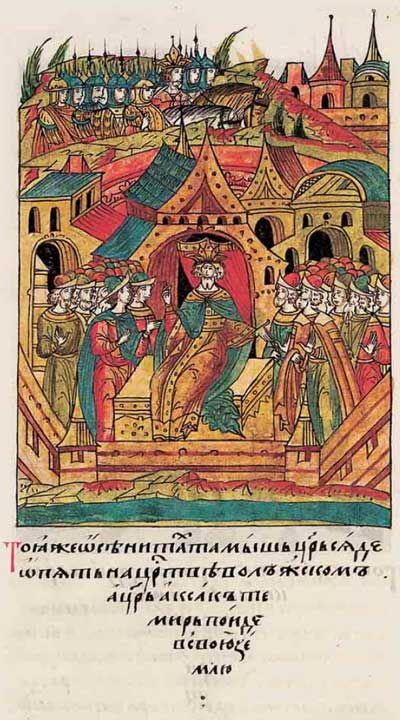 Лицевой летописный свод Ивана IV Тохтамыш Хан на троне на заднем плане Тимур