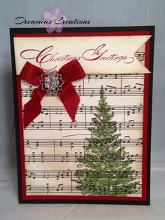 56 best christmas card ideas images on pinterest christmas cards christmas card made with high quality by dreamiascreations on etsyke the tree stamped over the sheet music m4hsunfo