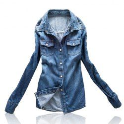 $10.09 Casual Bleached Washing Solid Color Stud Embellished Denim Blouse For Women
