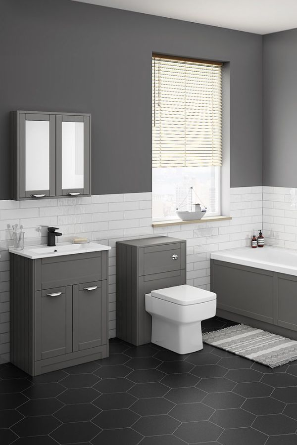 Pair Traditionally Inspired Furniture With Modern Bathroom Tiles To Create A Standout Contemporary Modern Bathroom Tile Grey Bathroom Tiles Bathroom Makeover