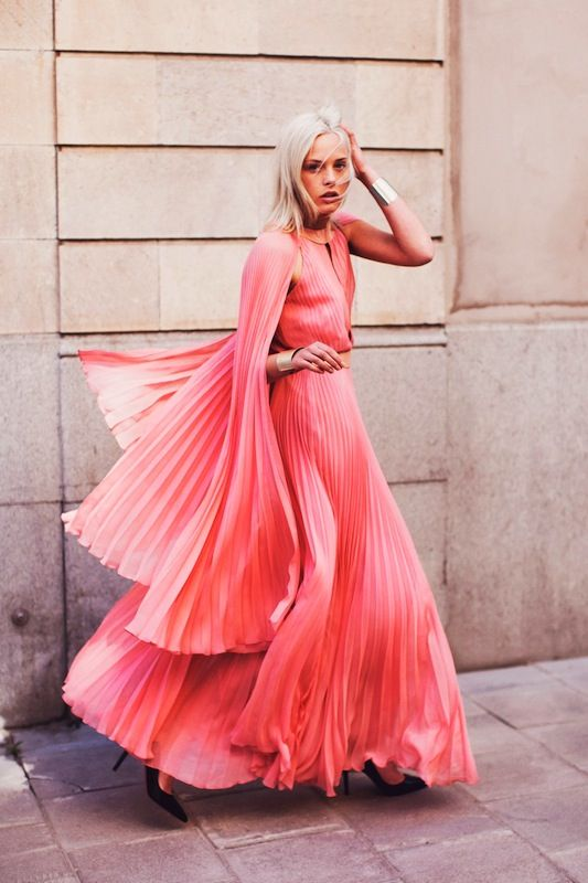 pleats pleats pleats: Maxi Dresses, Evening Dresses, Fashion Style, Capes, Color, Dramas, Cuffs, The Dresses, Pink Gowns