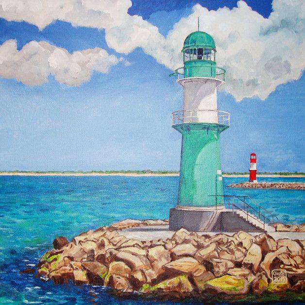 New Maritimer Drucke auf Leinwand Leinwanddruck mit Leuchtturm in Warnem nde Urlaubsfeeling Fernweh Wandbild