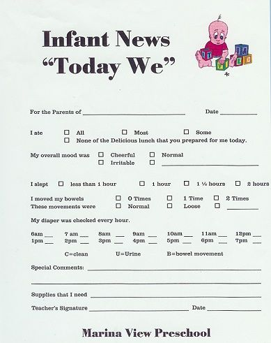 18 best daycare forms images on Pinterest Daycare forms - how to write a daily report sample
