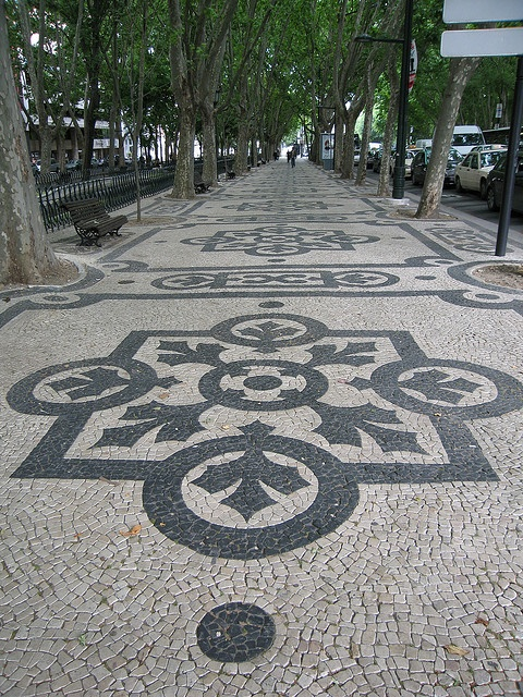 """calcadas"" = the typical Portuguese cobblestone pavement in Lisbon"