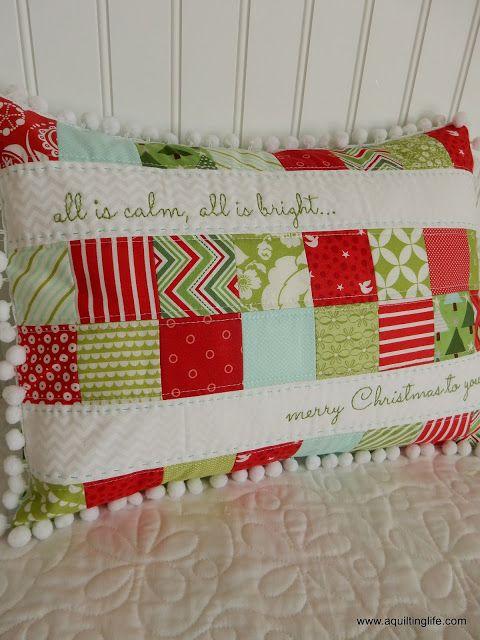 Merry Christmas Patchwork Pillow | A Quilting Life | Bloglovin'