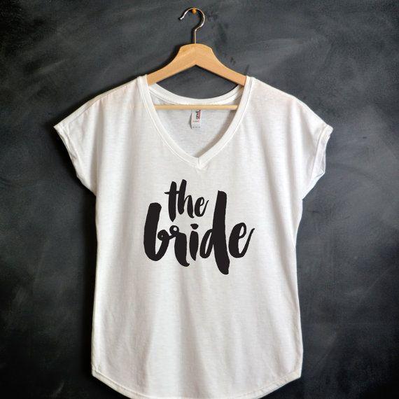 The Bride Shirt Gold Vneck Shirt Bachelorette by HelloHandpressed