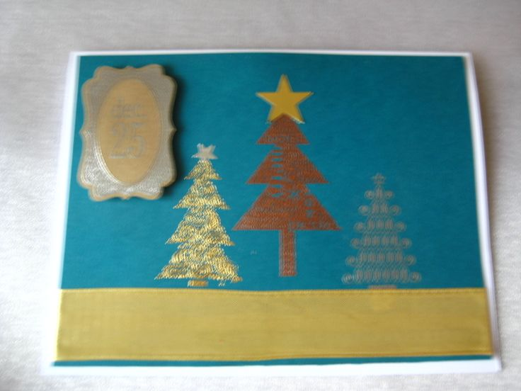 Stampin Up, trees from three separate sets in gold copper and silver