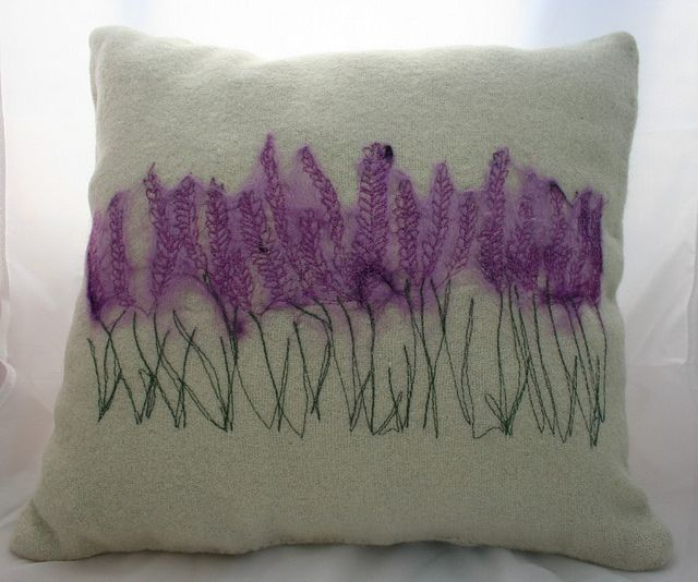 Looks like embroidery on top of thin purple voile or similar