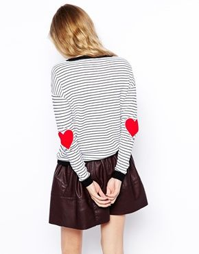 ASOS Stripe Sweater With Heart Elbow Patch
