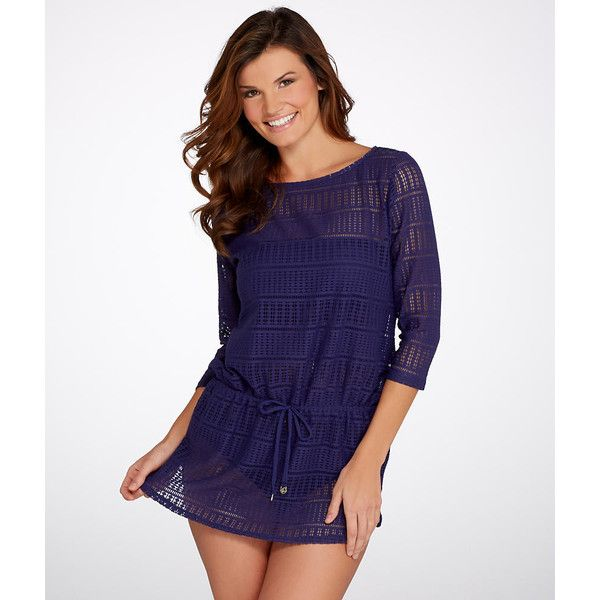 Anne Cole Signature Crochet Boatneck Swim Tunic ($78) ❤ liked on Polyvore featuring swimwear, cover-ups, cover up cover-up, women, swim cover up, crochet swim cover ups, crochet cover ups and anne cole swimwear