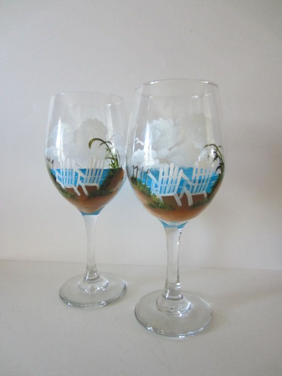 Hand Painted Beach Chair Wine Glasses by EverythingPainted on