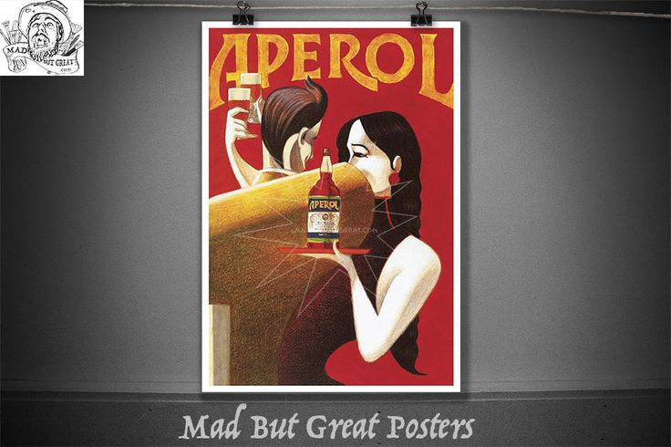 Aperol Liqueur, Art Deco - Lorenzo Matteotti, vintage, kitchen wall art, food and drink, drink print, drink poster, alcoholic, alcohol gifts by MadButGreatPosters on Etsy