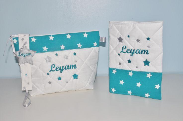 Box cadeau naissance: protège-carnet de santé+trousse de toilette+attache-tétine/sucette étoiles turquoise/gris personnalisé brodé au nom : Puériculture par lbm-creation