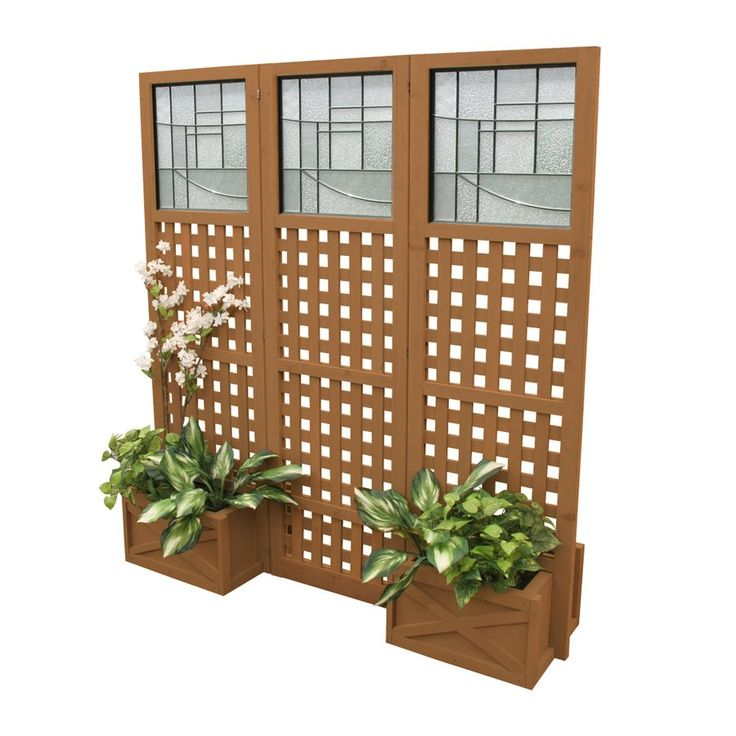 Yardistry ym11615 faux glass privacy screen with planter for Balcony screen