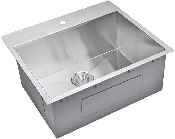 Water Creation Stainless Steel Kitchen Sink 25 X 22 Zero Radius Single Bowl Hand Made Drop In Top Top Mount Kitchen Sink Stainless Steel Kitchen Sink Sink 25 x 22 stainless steel sink