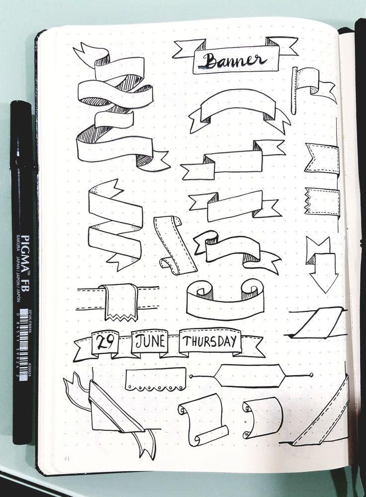 Banner and Ribbon | Bullet journal doodles, Bullet journal inspiration, Note doodles