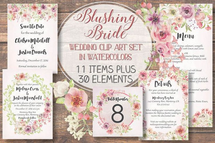 'Blushing Bride': wedding clip art set example image