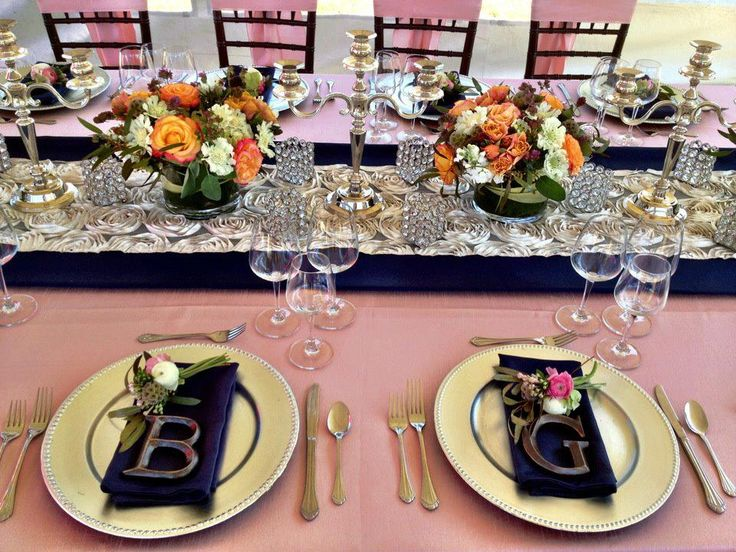 Blush & Navy wedding color palette. Gorgeous work by @grandevent