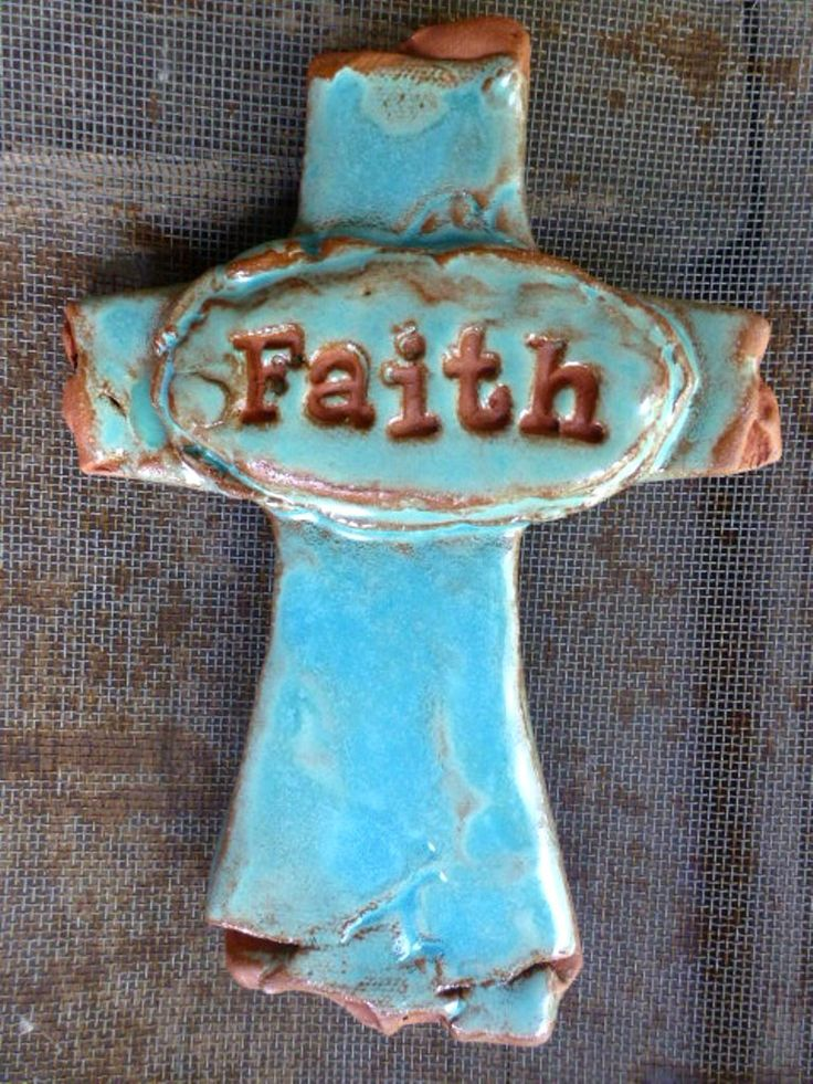A personal favorite from my Etsy shop https://www.etsy.com/listing/454933008/artisan-rich-turquoise-faith-ceramic