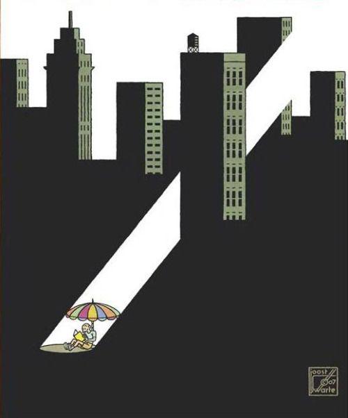 Tarde de domingo: soledad lectora en la ciudad (ilustración de Joost Swarte)