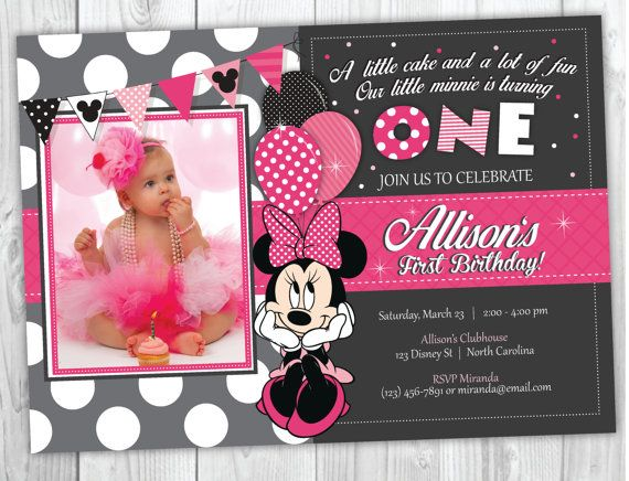 Minnie Mouse Birthday Invitation, Minnie Mouse Invitation, Minnie Mouse Birthday Party,  Minnie First Birthday Party
