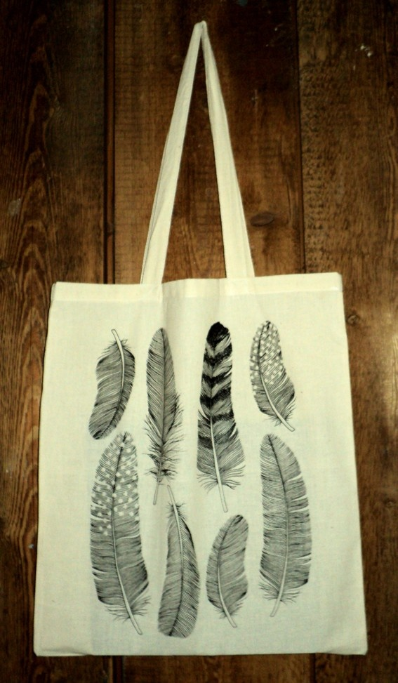 Handprinted Illustrated 'Feather' Canvas Tote Bag, from HollyTrill on etsy