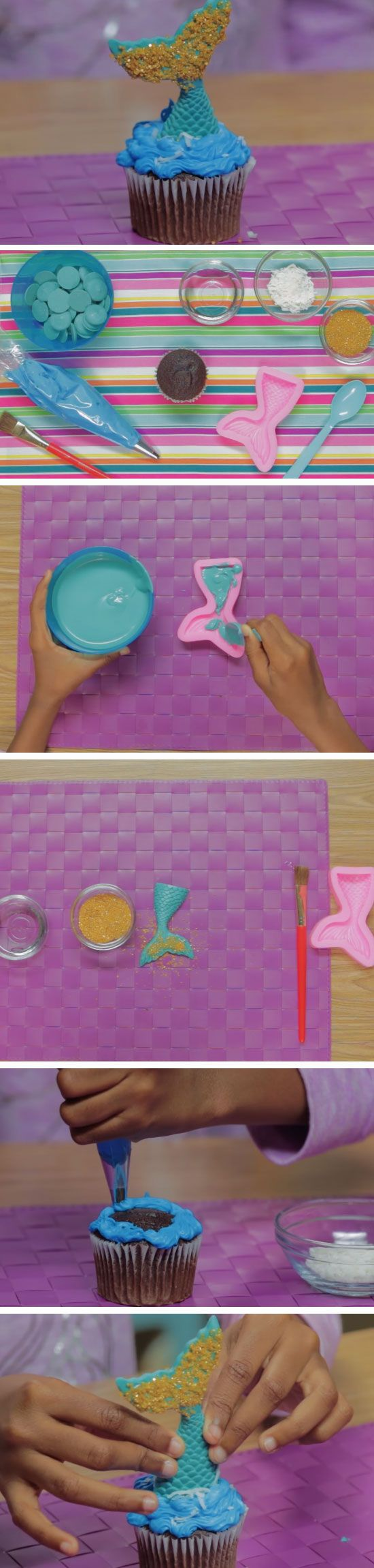 Mermaid Tail Cupcake   Easy Birthday Party Food Ideas for Kids   Easy DIY Princess Party Ideas Food
