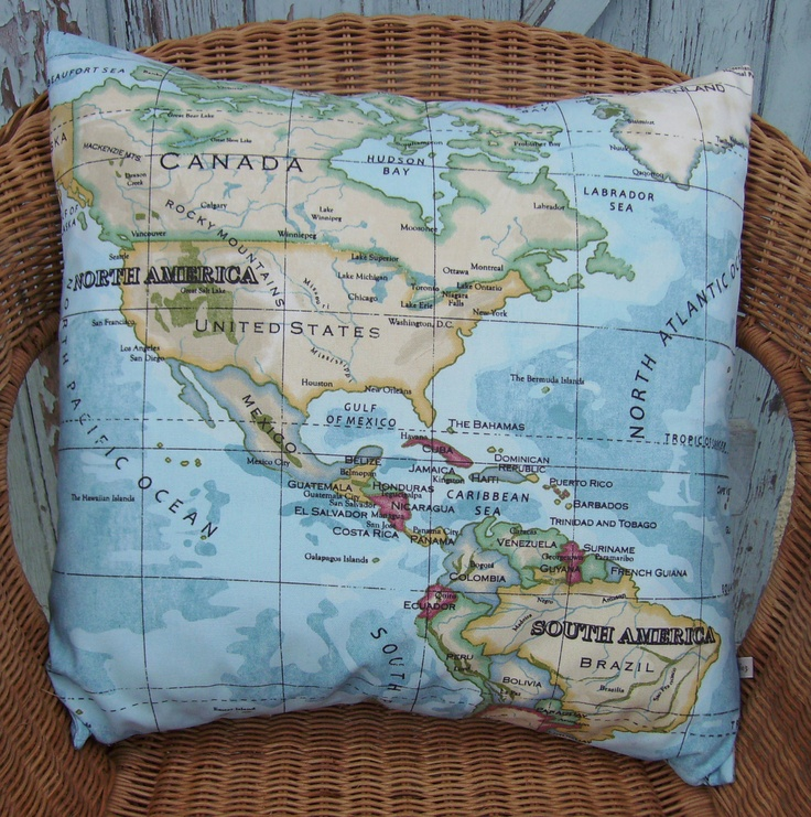 World map pillow cover 18 inch