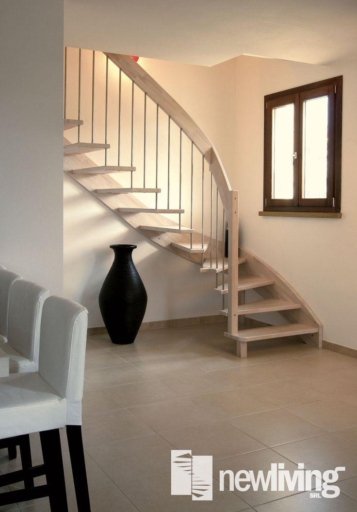 Geranio E INOX - Scala con gradini in legno e colonnette in acciaio inox