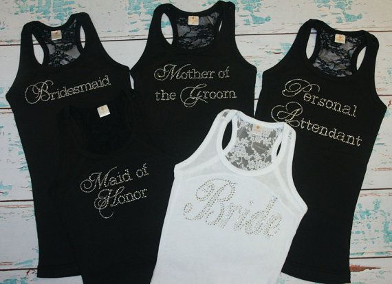 Bride Shirt Tank (5) Lace Back. Bridesmaids. Maid of Honor. Matron of Honor. Brides Entourage.S-XL, XXL, 2XL White. Black. Purple. Pink