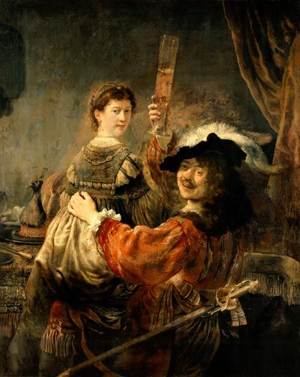 Rembrandt van Rijn - Self-portrait of the artist with his young wife's Saskia