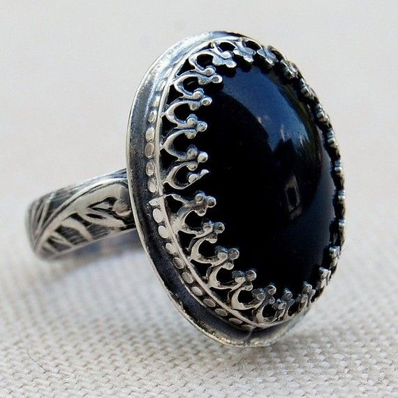 Black Moonstone-Vintage Lucite & Sterling Silver Ring