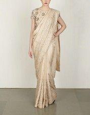 Beige Beaded Sari & Blouse
